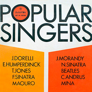 Various Artists (featuring The Beatles, Tom Jones) – POPULAR SINGERS (Balkanton ВТА 1206) - sleeve (var. 5), front side