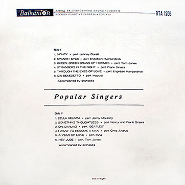 Various Artists (featuring The Beatles, Tom Jones) – POPULAR SINGERS (Balkanton ВТА 1206) - sleeve (var. 5), back side